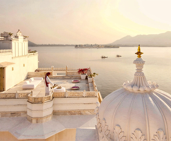 Sundowners or afternoon tea with a lake view from the terrace at the Taj Lake Palace, Udaipur