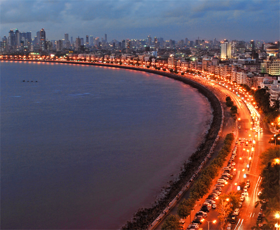 Aerial view of Marine Drive aka 'the Queens necklace' and the bustling heart of Mumbai along the seaside