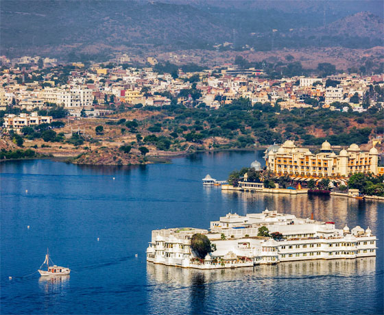 The floating marvel, the Lake Palace in the midst of Lake Pichola, Udaipur: as seen from The Oberoi Udaivilas
